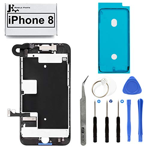 Full Screen Replacement LCD 3D Touch Assembly Front Camera Ear Speaker Shield Plate with Frame Adhesive and Repair Tools for iPhone 8 4.7 inch (Black)