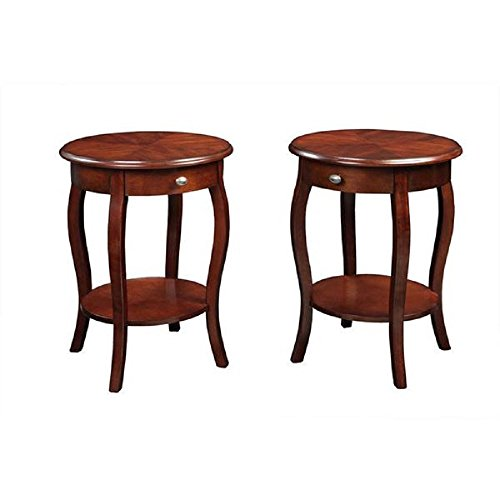 """Round End Tables Set of 2 Living Room Accent Side Pieces, Wood Cognac Finish, Locking File Drawer, 24"""" H 18.5"""" D"""