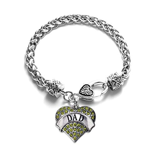 Inspired Silver - Dad Green Braided Bracelet for Women - Silver Pave Heart Charm Bracelet with Cubic Zirconia ()