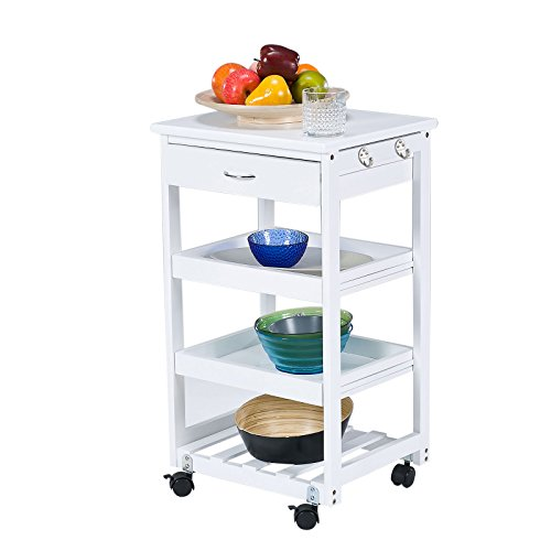 SoBuy–FKW01-W Serving Cart Three Shelves and Drawer, Kitchen, L42x...