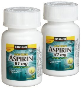 Aspirin Baby (Cos5 Kirkland Signature LOW Dose Aspirin 81mg Pain Reliever Aspirin Regimen Safety Coated Enteric - 2 Packs of 365 Coated Tablets (730 Tablets Total))
