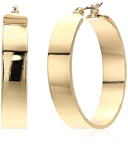 Kenneth Cole New York Women's Wide Gold Hoop Earrings, Shiny Gold, One Size
