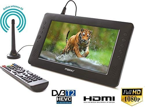 Maxxo 2en1 Decodificador HD TDT + Mini Televisión Portátil DVB-T/T2 Receptor Digital Terrestre con Tele pequeña Full HD HEVC H.265 / H.264 LCD 23 cm (9