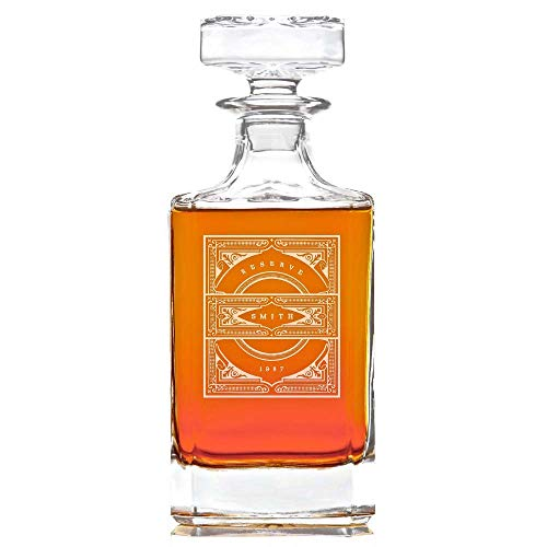 Personalized Whiskey Decanter Lead Free Whisky Bottle, 28 oz : Vintage Design