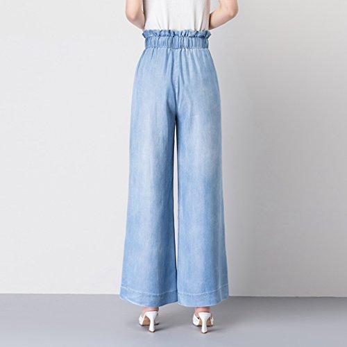 Ancha Mujer Xinwcanga Pierna Flojos Verano Rectos Mezclilla Alta Cintura Luz Casual de Azul Pantalones FFwqP