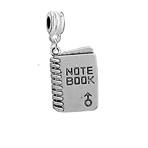 SEXY SPARKLES School Note Book Charm European Bead Spacer for Snake Chain Charm Bracelets (Sexy Charm Girl School)