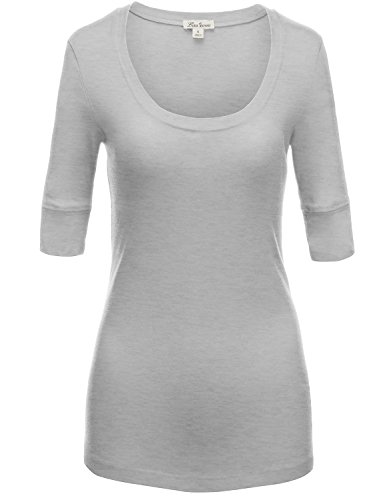 Elbow sleeve Fitted Scoop-Neck Cotton T-Shirts