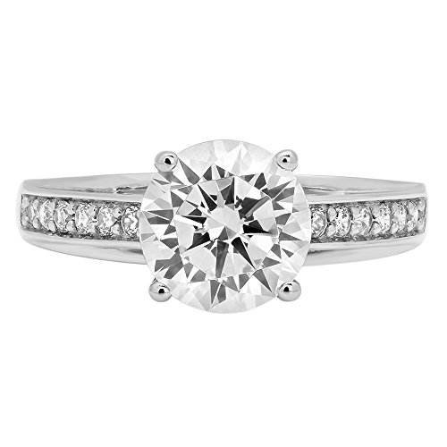 2.31ct Brilliant Round Cut Designer Simulated Diamond Accent Solitaire Statement Ring for Women Solid 14k White Gold, 6.75