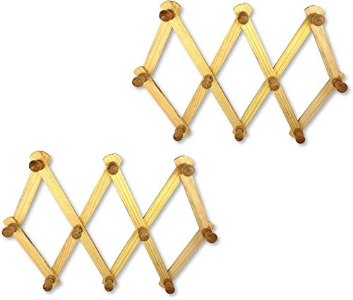 """An American Company HC084 Expandable Wood Wall Rack, Durable Design, Metal Screws and Hangers, 11 7/8"""" x 3"""" Overall Dimensions, Smooth Wood Finish, Set of 2 from An American Company"""