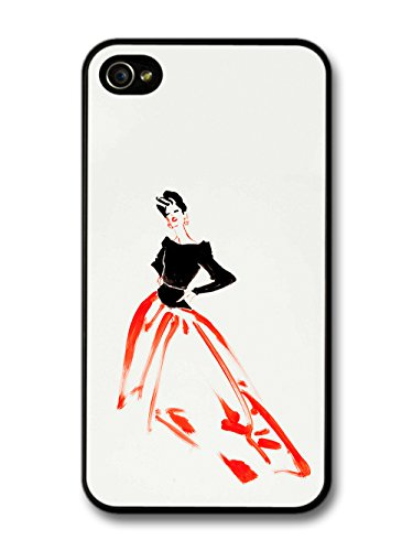 Retro Vintage Fashion Illustration of Minimalist Woman with Red and Black case for iPhone 4 4S