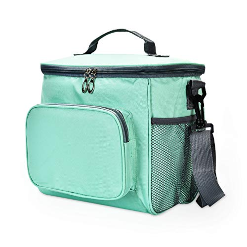 Milky House Insulated Lunch Bag Cooler Tote Roomy Compartments for Lunch Box with Shoulder Strap for Men Women Kids Green