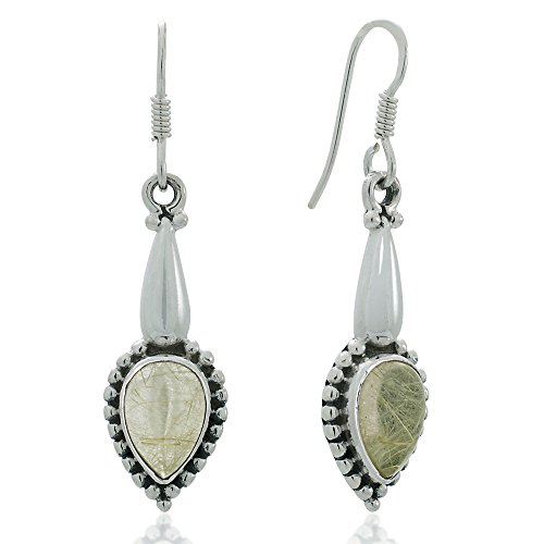 Quartz 925 Silver Hook Earrings - 5