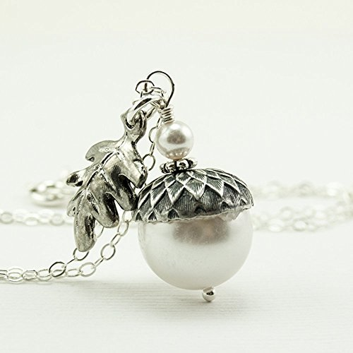 White Acorn Necklace with Oak Leaf and Simulated Pearls from Swarovski, Sterling Silver Chain 20