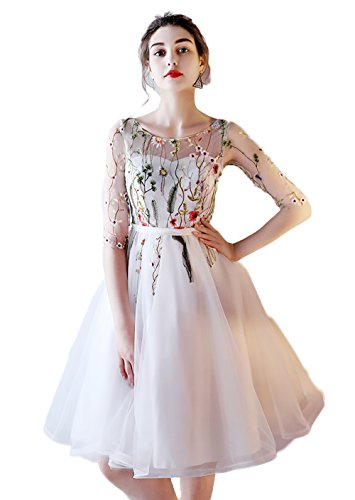 YSMei Knee-Length Embroidered Floral Lace Prom Graduation Dresses Evening Party Gown White 08