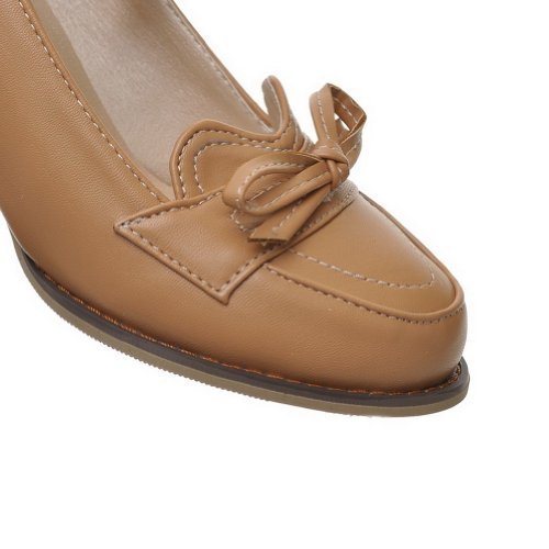 Jane whith Mid Heel Bowknot Apricot Mary Pumps Solid Toe VogueZone009 Round Closed Material Womens Soft PU qwpTUP