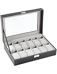 12-Slot Leather Watch Box / Watch Case / Jewelry Box /Watch Jewelry Display Storage, Gray | Great Valentines Gift