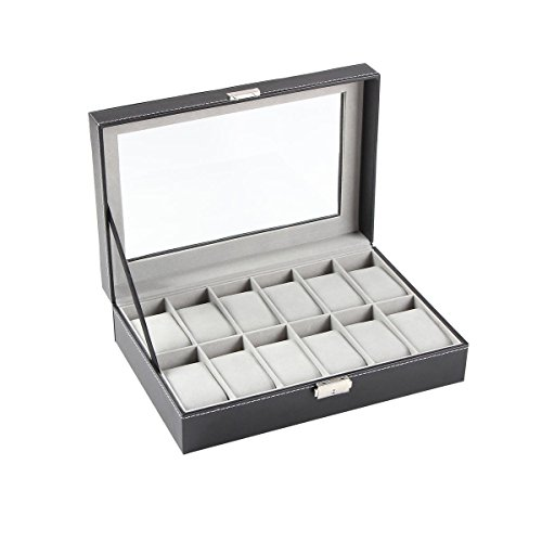 Ohuhu Watch Cases, 12 Slot Watch Box PU Leather Watches Display Case, Birthday Xmas Presents, Black - Grey