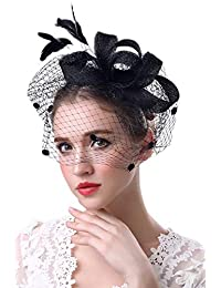 Zonsaoja Fascinator Hats for Womens Bucket Church Deryby Feather Mesh Tea Party