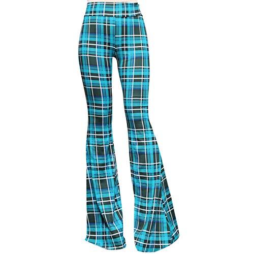 SMT Women's High Waist Wide Leg Long Bell Bottom Yoga Pants Medium Plaid Teal Green