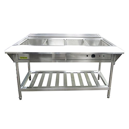 Electric Water Bath Steam Table - Adcraft EST-240 Electric Four Compartment Water Bath Steam Table 57.25