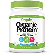 Orgain Organic Plant Based Protein Powder, Vanilla Bean - Vegan, Low Net Carbs, Non Dairy, Gluten Free, Lactose Free, No Sugar Added, Soy Free, Kosher, Non-GMO, 1.02 Pound (Packaging May Vary)