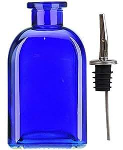 'Aceite de oliva Outpost on Anna Maria 250ml botella de cristal con acero inoxidable boquilla antigoteo para (azul cobalto)