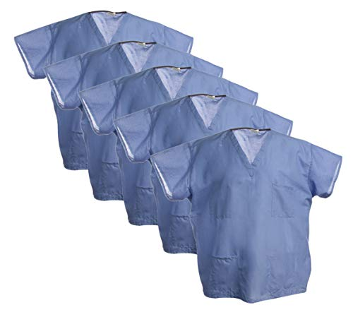 (Encompass (5 Pack Blue Hospital Scrubs Tops Medical Nursing Surgical Unisex Medical Shirt for Men and)