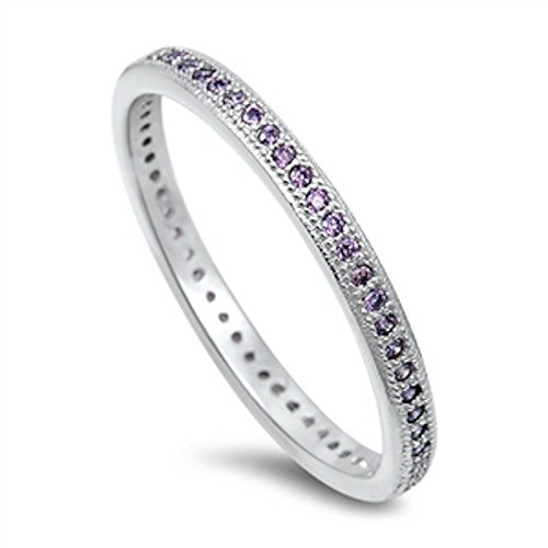 - Oxford Diamond Co Simulated Amethyst Eternity Wedding Band .925 Sterling Silver Ring Size 7
