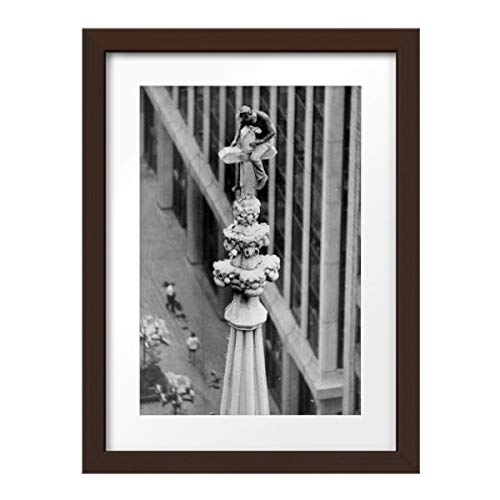 Photos by Getty Images Herb Loge Takes a Breather on The Pinnacle Cross of St. Patr - Framed Print, Framed, Espresso, White Matte, 16.5x22.5
