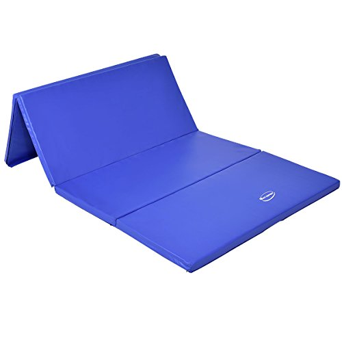 Blue 4'x8'x2'' Gymnastics Mat Thick Folding Panel Gym Fitness Exercise Mat by Lotus Analin