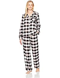 Women's Cozy Flannel Notch Collar Pajama Set with Piping