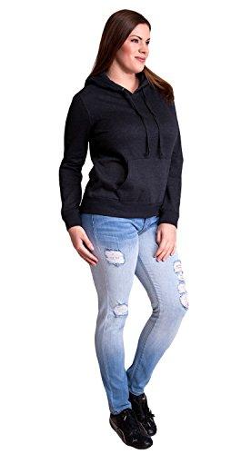 Charcoal Ladies Plus Size Soft Drawstring Hoodie Kangaroo Pocket