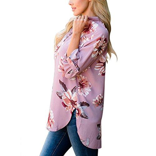 Elgante Manche 3 Shinekoo Hauts Shirt Top Longue 4 N Type V Blouse Imprim Chemisier Col Femmes 0p4Rq5