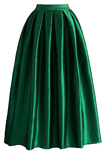 Omelas Women Pleated Maxi Skirt Satin Skirts High Waisted Long, X-Large, Dark Green - Skirt Flare Satin