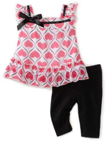 Young Hearts Baby Girls' Chiffon Top With Capri Pant Set