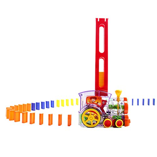 Kasien Domino Train Toy Set, Automatically Set Dominoes Game Building Blocks Car Truck Vehicle Stacking Toy, Electric Train Model 60pcs Colorful Domino