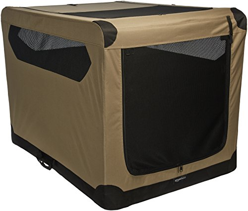 - AmazonBasics Portable Folding Soft Dog Travel Crate Kennel - 31 x 31 x 42 Inches, Tan