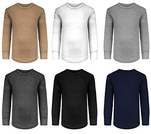 Girls/Boys/Toddler 6 Pack Athletic Performance Long Sleeve Undershirt Tops/Base Layer Cotton Stretch Shirts (6 Pack- Black/Khaki/White/Grey/Navy/Charcoal, 7/8)