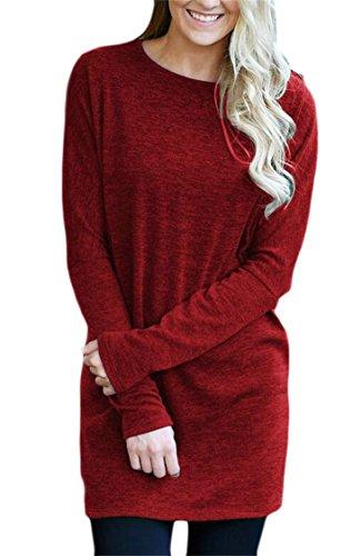 Manches Longues Col Rond Couleur Unie Des Femmes Domple En Tête Robe Chemise Rouge