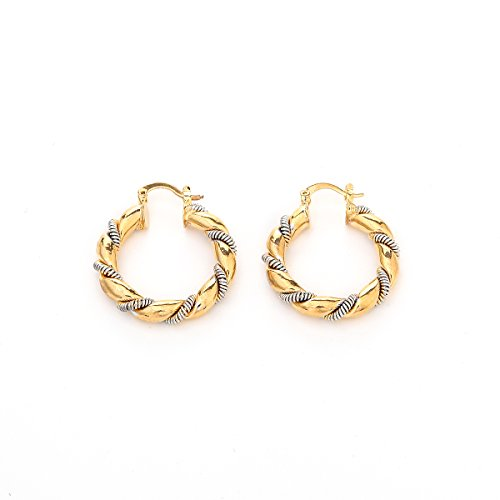 African 24K Gold Platinum Plated Two Tone Round Twisted Hoop Earring Jewelry Women Thick Size Earrings (G27)