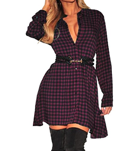Sexy Stylish Casual Mulit Color Shirts Buckle Comfy Dress Womens Plaid Red qXYw0