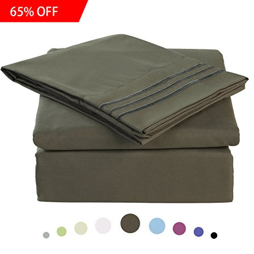 Bed Sheet Set - Microfiber Bedding Deep Pockets sheets 4 pc by Maevis (Dark Grey,Queen) (Target Pillow Owl)