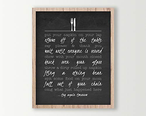 Amazon Com Family Sign Kitchen Table Rules Funny Kitchen Wall Art Farmhouse Kitchen Print Family Kitchen Poster Dining Room Decor Handmade