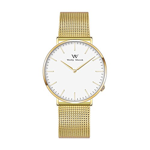 Welly Merck Swiss Movement Sapphire Crystal Women Luxury Watch Minimalist Ultra Thin Slim Analog Wrist Watch 18mm Gold Stainless Steel Mesh Band in White 36mm 164ft Water Resistant (White) (Movement Swiss Watch)