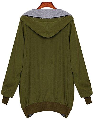 Fermeture Extra Femme Vert Large Éclair Veste Zarlena Capot Sweat Capuche Armée À 8OOSHYq