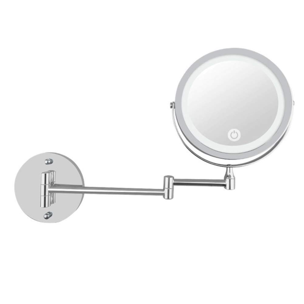 Mirror 7 Inch Wall Mounted Makeup with Led Light 10X Magnification Double-Sided Swivel,Extendable and Chrome Finished Round Vanity USB Charging HMYH