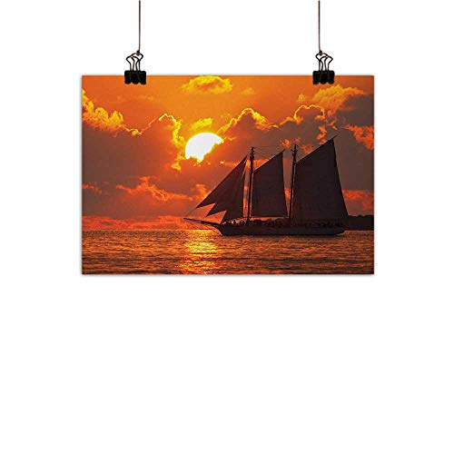 - Anzhutwelve Sailboat Art Oil Paintings A Boat Sailing in Front of a Sunset in Key West Canvas Prints for Home Decorations Florida Sundown TropicalOrange Dark Orange 24