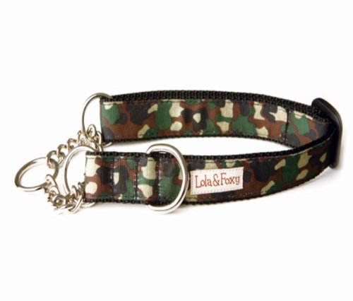 Lola and Foxy Camo Martingale Dog Collar, 1-Inch Wide, X-Large (16-Inch by 26-Inch Neck Size)