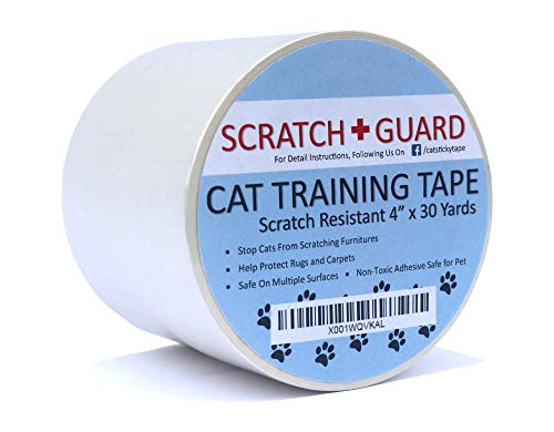 (SCRATCH+GUARD Cat Training Tape | Clear Adhesive Double Sided Sticky Guard | Protect Furniture | Clear 4 Inches x 30 Yards Sticky Tape Largest on The Market)