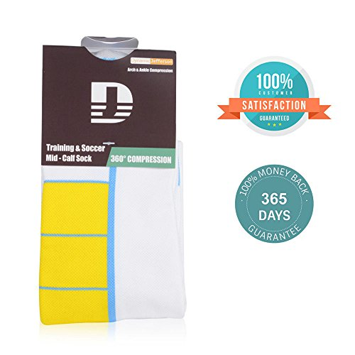 Soccer Socks with Compression Design, Mid-Calf, High Elasticity and Durability, Holding the Shinguard Tightly, 1 Pair (White, M: US 9-11) by Dynamic Jefferson (Image #4)